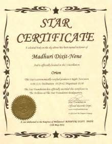 Name A Certificate Template by Dreamland Of A For A Superstar Madhuri Dixit