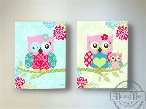 Owl Wall Decor For Nursery Owl Nursery Decor Owl Canvas Baby Nursery Owl