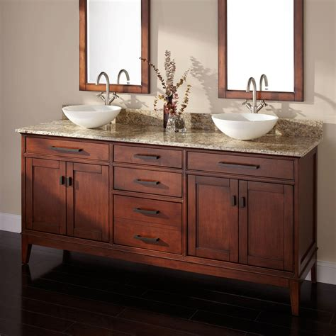 Bathroom Vanities Two Sinks 72 Quot Vessel Sink Vanity Tobacco Bathroom Vanities Bathroom