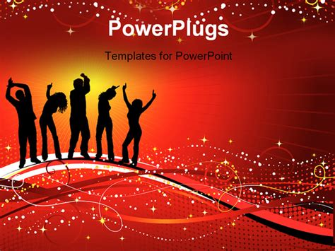 silhouettes of people dancing powerpoint template