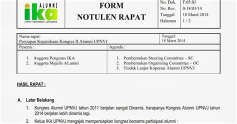 Contoh Notulen Hasil Rapat by Notulen Rapat Persiapan Kepanitiaan Kongres Alumni Upnvj