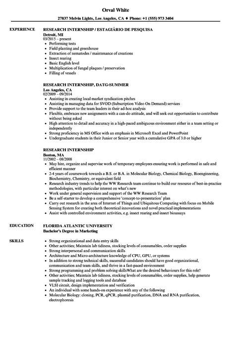 research internship resume sles velvet