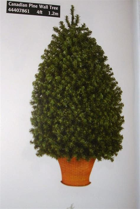 4ft canadian pine half wall tree in basket artificial