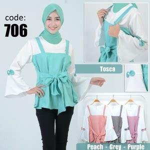 Atasan Wanita Blouse Muslim Tunik Chic Pinguin Lengan Panjang Jumbo baju atasan lengan panjang wanita modis polos model terbaru