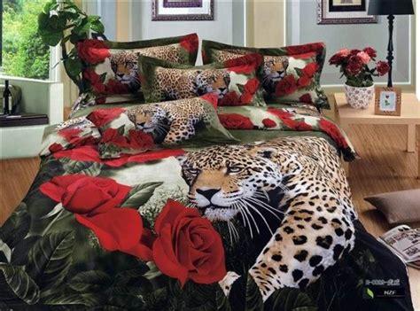 3d Leopard Red Rose Animal Print Bedding Set Queen Size Size Leopard Print Bedding