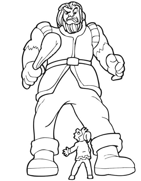 jack and the beanstalk coloring page jack facing giant