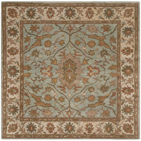 blue square rug safavieh heritage light blue ivory 6 ft x 6 ft square area rug hg937a 6sq the home depot