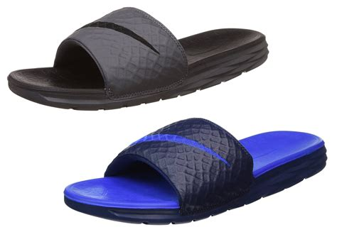 mens nike slip on sandals nike benassi solarsoft mens grey or blue slip on comfort