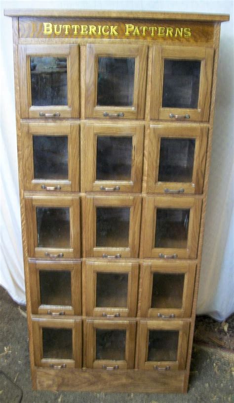 Glass Front Cupboard - butterick pattern cabinet with 15 glass front drawers ebay