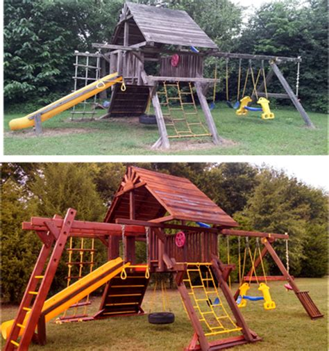 rainbow swing set stain annual maintenance for playsets swings billiards etc