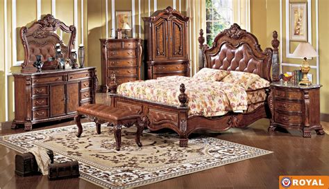 elegant bedroom furniture sets rich cherry finish leather upholstered elegant bed w options