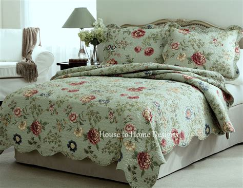 green sage full queen quilt set country cottage floral