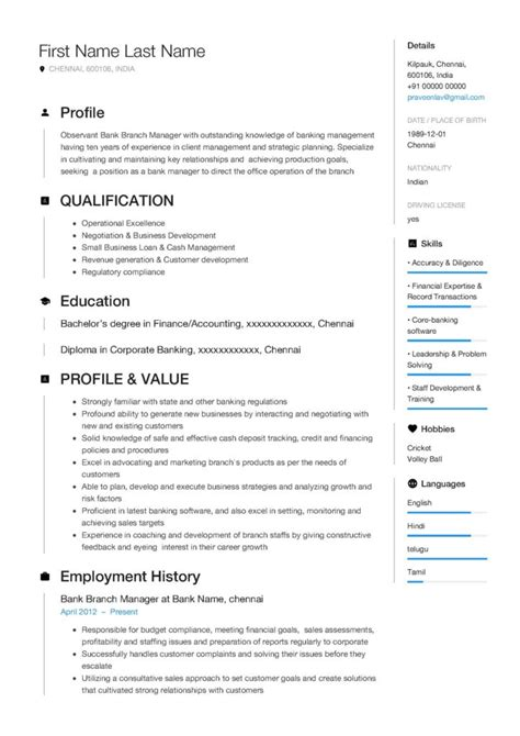 Bank Branch Manager Resume Resume Template Of A Bank Branch Manager