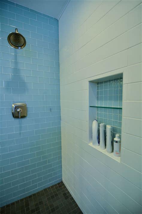 glass  matte white subway tile modern bathroom
