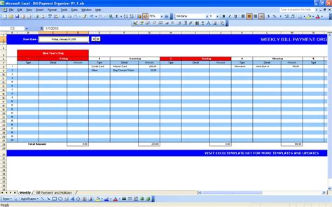 Bill Payment Calendar Excel Templates Bill Pay Template
