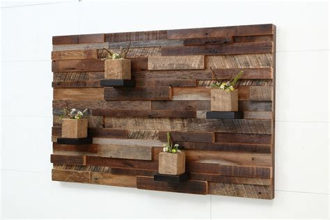 Handcrafted Wall - crafted reclaimed wood wall made of barnwood