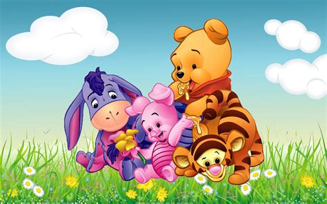 cartoon wallpaper portrait cartoon winnie the pooh tigger piglet and eeyore babies hd