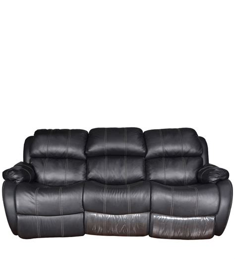 three seater sofa recliner with collapsible tray in black