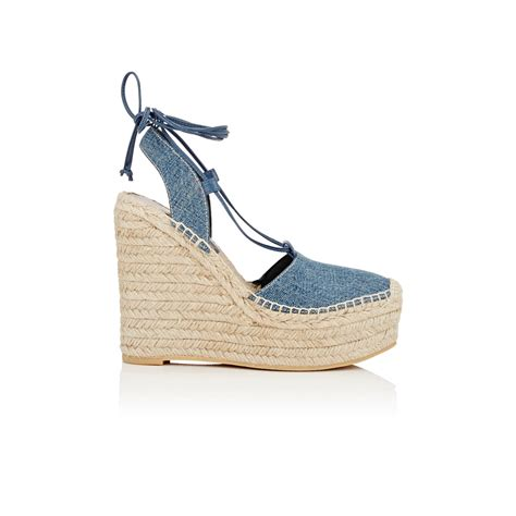 denim wedge sandals laurent denim espadrille wedge sandals in blue lyst