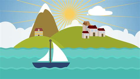 cartoon boat at sea colorful cartoon boat sailing slowly in the ocean with