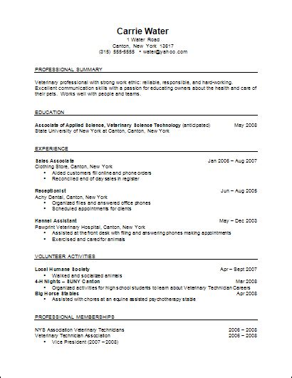 Vet Tech Resume Tips by Veterinary Assistant Resume Exles 28 Images College