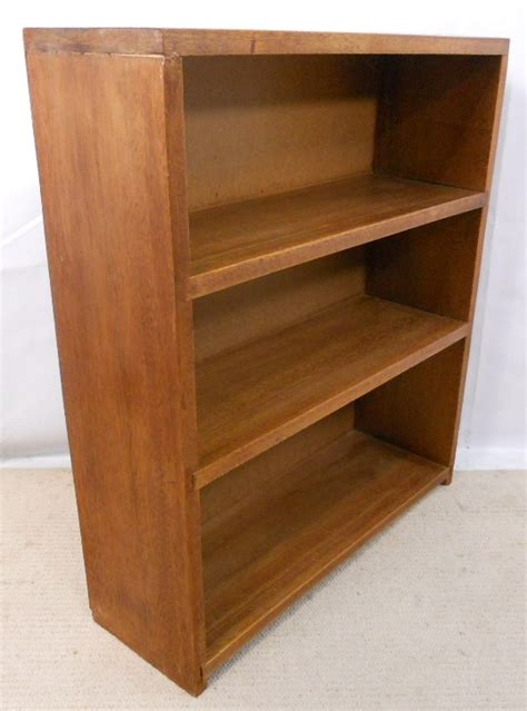 teak wood standing open bookcase cabinet