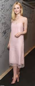 Dress Pink Merk Bodysoul fanning looks demure in pink slip dress as she attends nyc event to talk about new