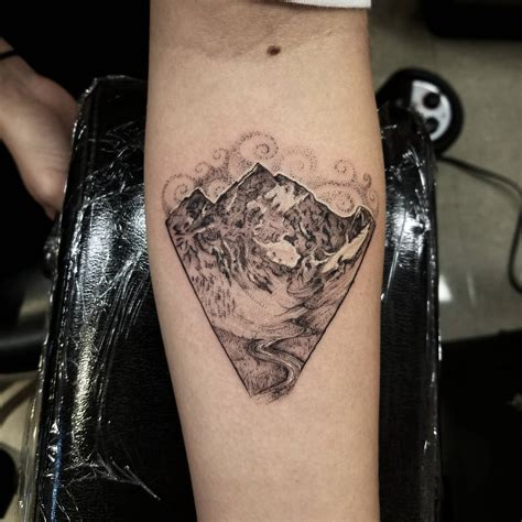 single needle tattoo the grandest of the teton range single needle done by