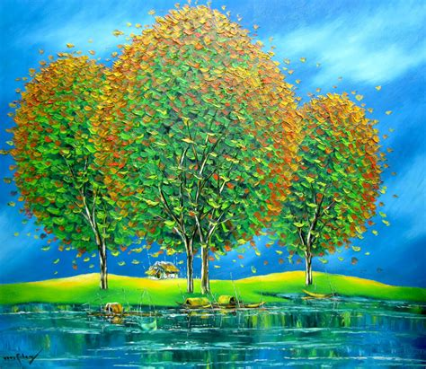 nguyen minh son asian art green trees   river