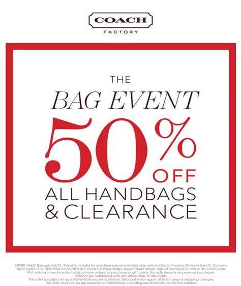 printable coupons for coach outlet coach factory store 50 off printable coupon