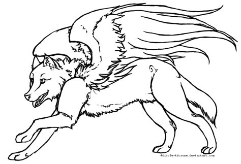 winged things a grayscale coloring book for adults featuring fairies dragons and pegasus books winged wolf lineart by kitsune on deviantart