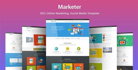 Marketer Seo Online Marketing Social Media Template By Epic Themes Social Media Page Template