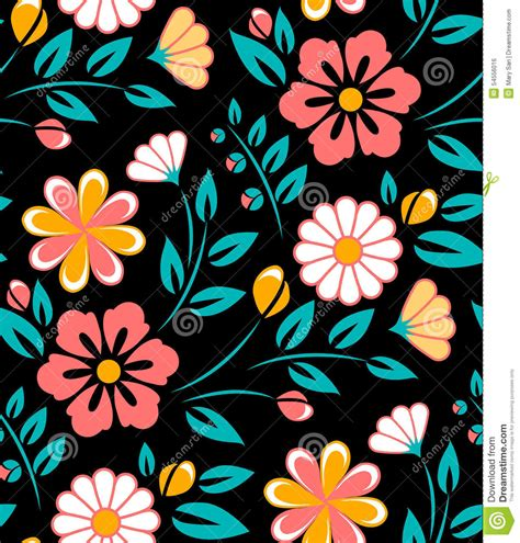 flower pattern on black background seamless spring flower pattern on black background stock