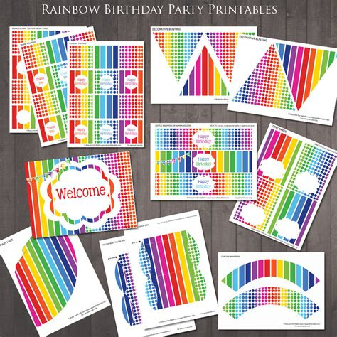 Printable Rainbow Party Decorations | free rainbow party invitation ruby and the rabbit