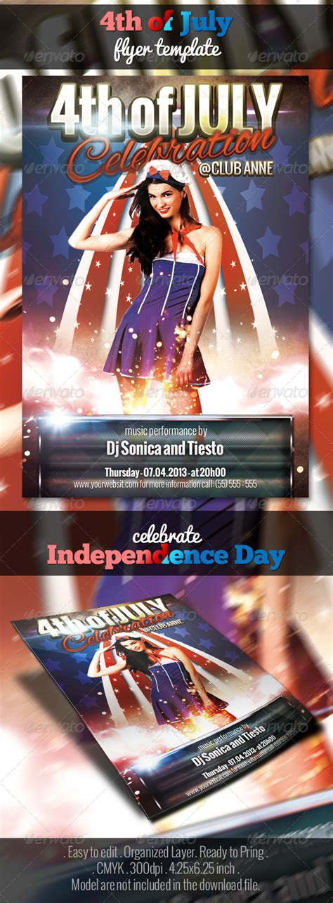 4th Of July Flyer Template By Matrixpixel Graphicriver In July Flyer Template