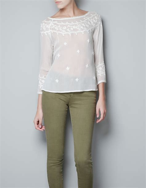 Blouse Zara Zara Blouse Embroidered With Flowers And Pearls In White