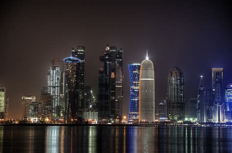 wallpaper qatar sparkling skyline burj qatar looking like a diamond
