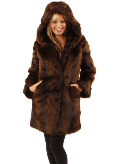 fur coat ruby ed hooded mink faux fur coat designer faux fur coats