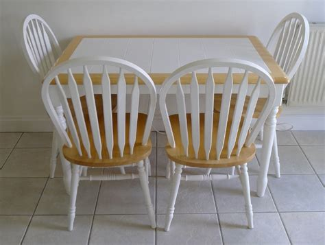 kitchen table and four chairs white tiled top 99p