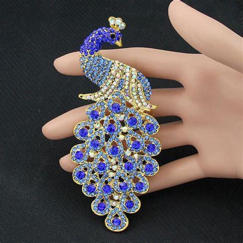 Peacock Brooch drop shipping brooches multicolor rhinestone blue peacock