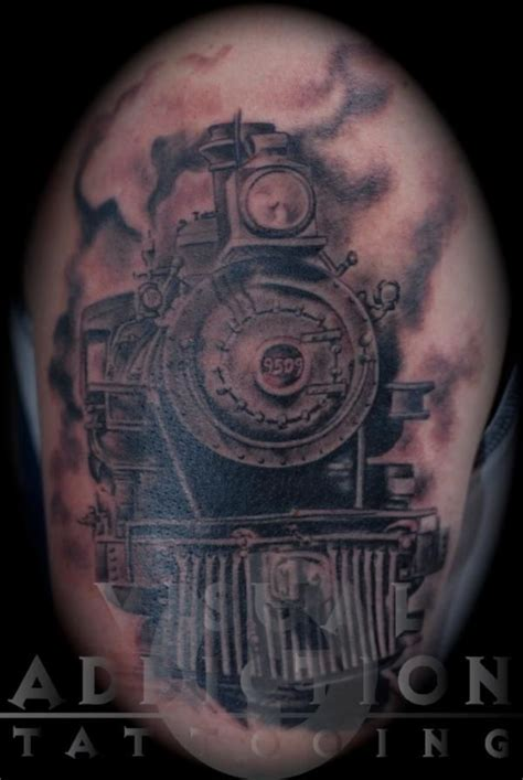 railroad tattoos engine by randall at visua ink heaven