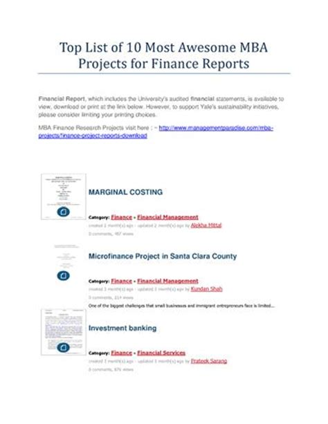 Mba Project Finance Ppt by Top List Of 10 Most Awesome Mba Projects For Finance