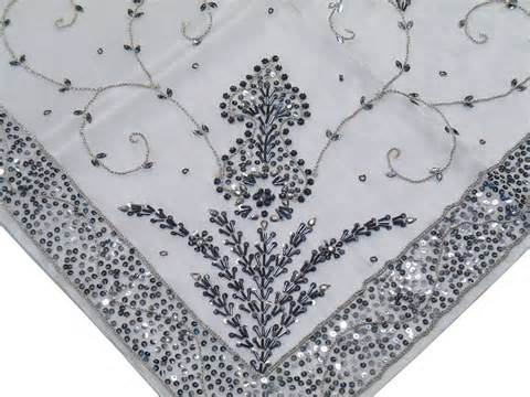 beaded tablecloth sheer organza white tablecloth designer indian beaded