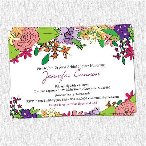 Garden Attire Wording Bridal Shower Invitation Printable Floral Garden Flowers