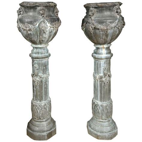 pair of zinc column planters at 1stdibs