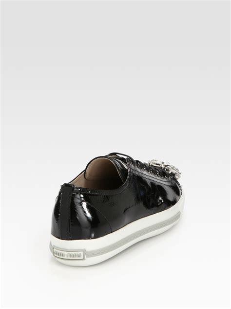 miu miu sneakers miu miu patent leather jeweled laceup sneakers in black lyst