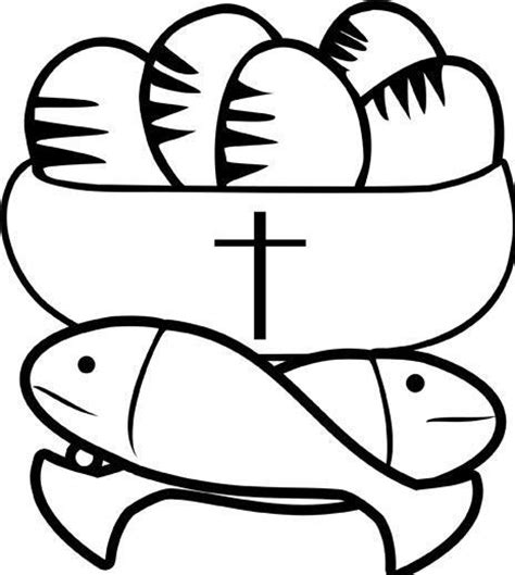 2 fish and 5 loaves of bread coloring page coloring pages