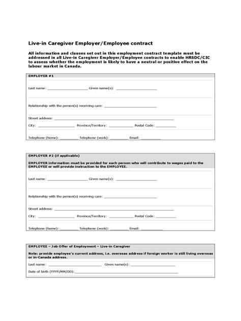 Offer Letter Sle Live In Caregiver Caregiver Contract Template 2 Free Templates In Pdf