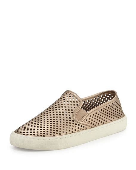 perforated slip on sneaker burch perforated slip on sneaker platinum