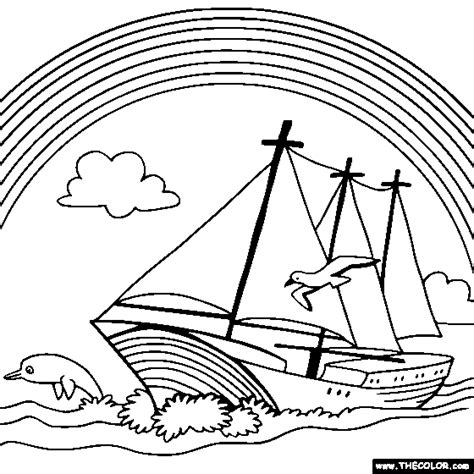 sailboat numbers rainbow boat colouring pages